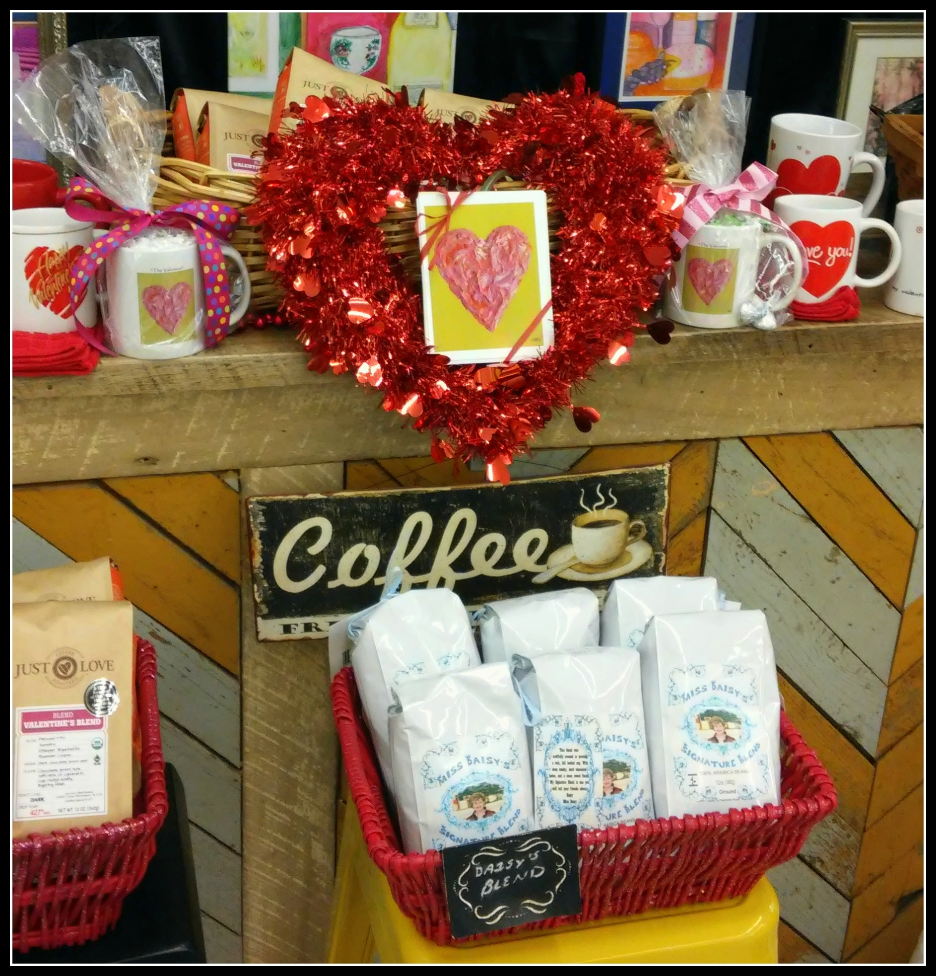 "Miss Daisy's New Coffee Blend is delicious inside ""The Valentine"" coffee cup! Try Daisy's Blends today!!! Grassland's Foodland Market, Franklin, TN."