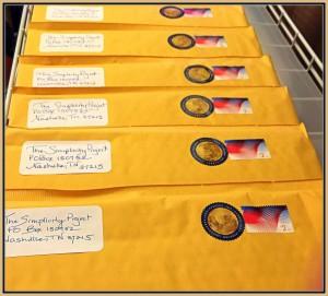 Envelopes for books framed in gold