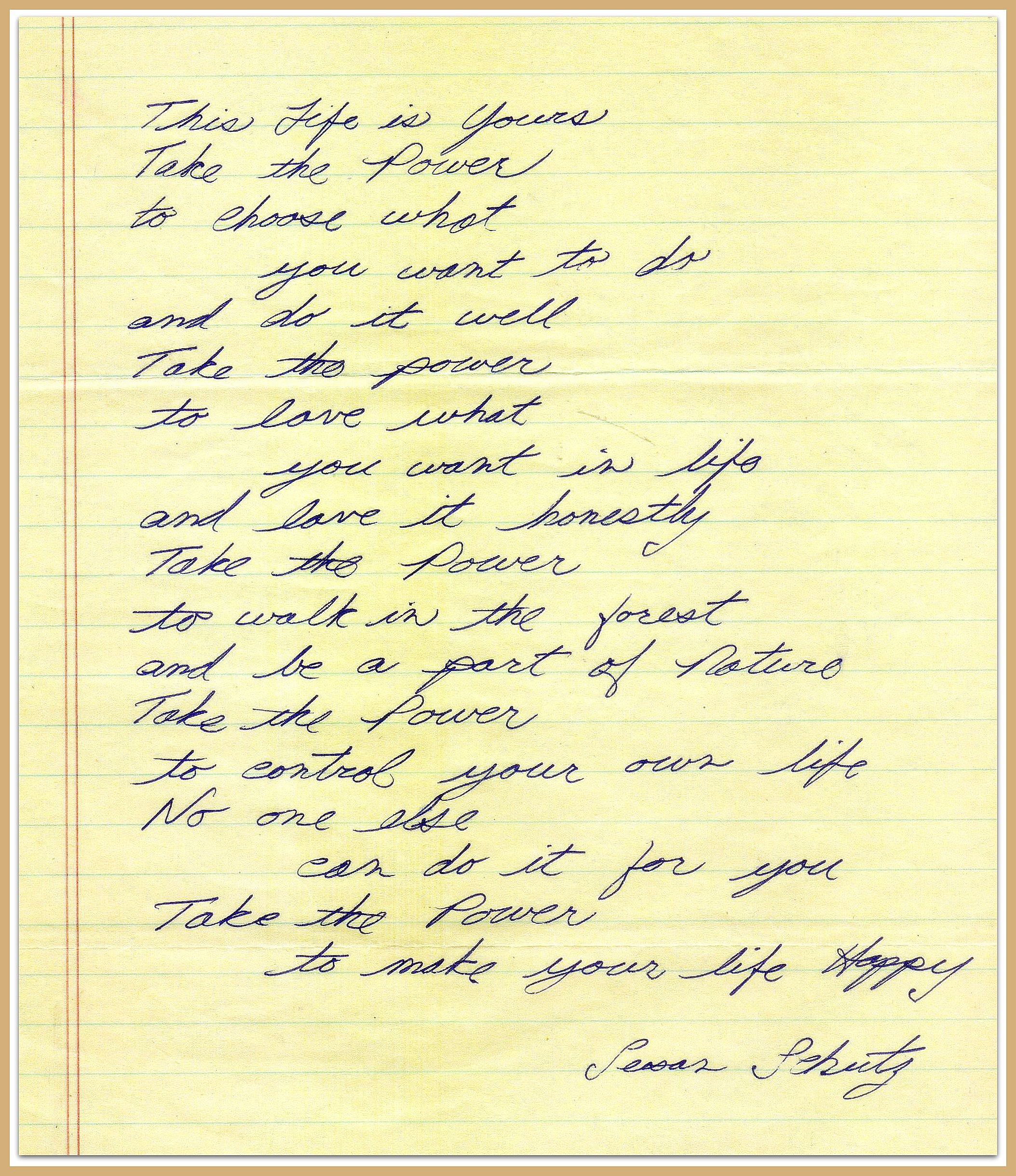Poem Take the Power by Schultz framed