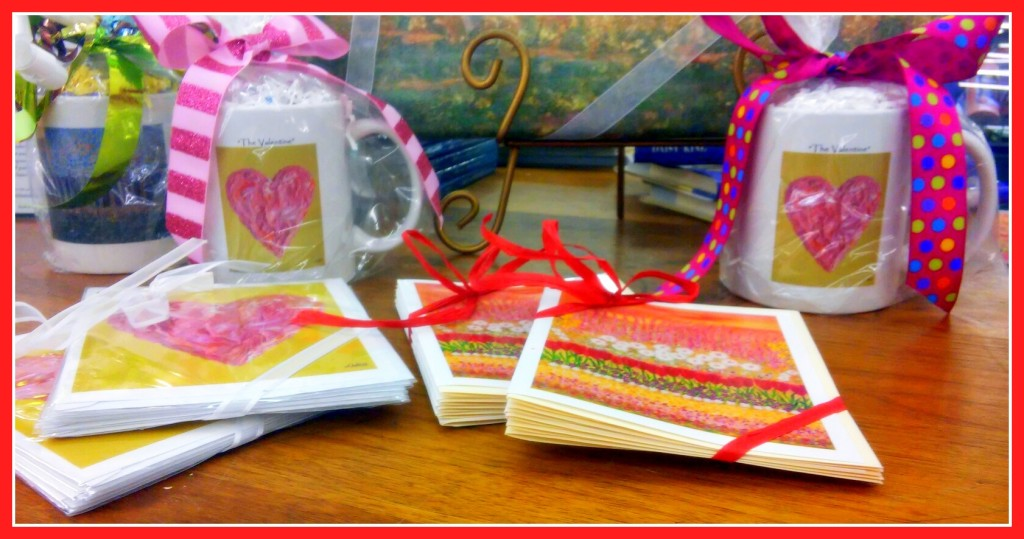 """The Valentine"" & ""Flower Garden"" coffee cups and note cards"