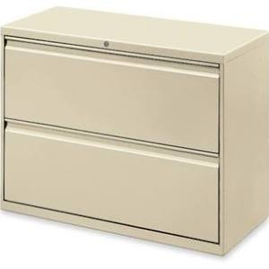 Lorell Lateral File Cabinets Purchased from OfficeSupply.com 2 product reviews Lorell · Lateral · 2 Drawer · Lockable · Legal Size Each drawer has a magnetic label holder. Design features a core removable lock, dual locking bars, full-width pull, ball-bearing slide suspension, reinforced base, and four adjustable leveling guides. Interlock system prohibits the extension of more than one drawer at a time. Counterweight prevents tipping. Lateral file meets or exceeds applicable ANSI/BIFMA standards. ($230.78 Office Depot Price) $100 each - 3 left