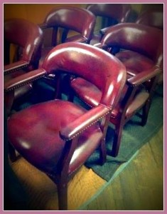 Comfortable Burgundy Office Chairs - 5 @ $30 each or $125 for the set of 5