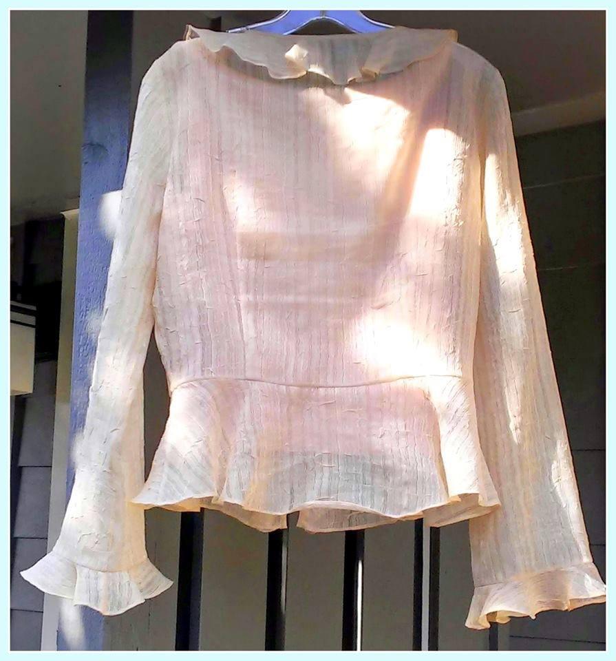 LAFAYETTE 148 Chiffon long sleeved blouse with slip New York Size 8 $24