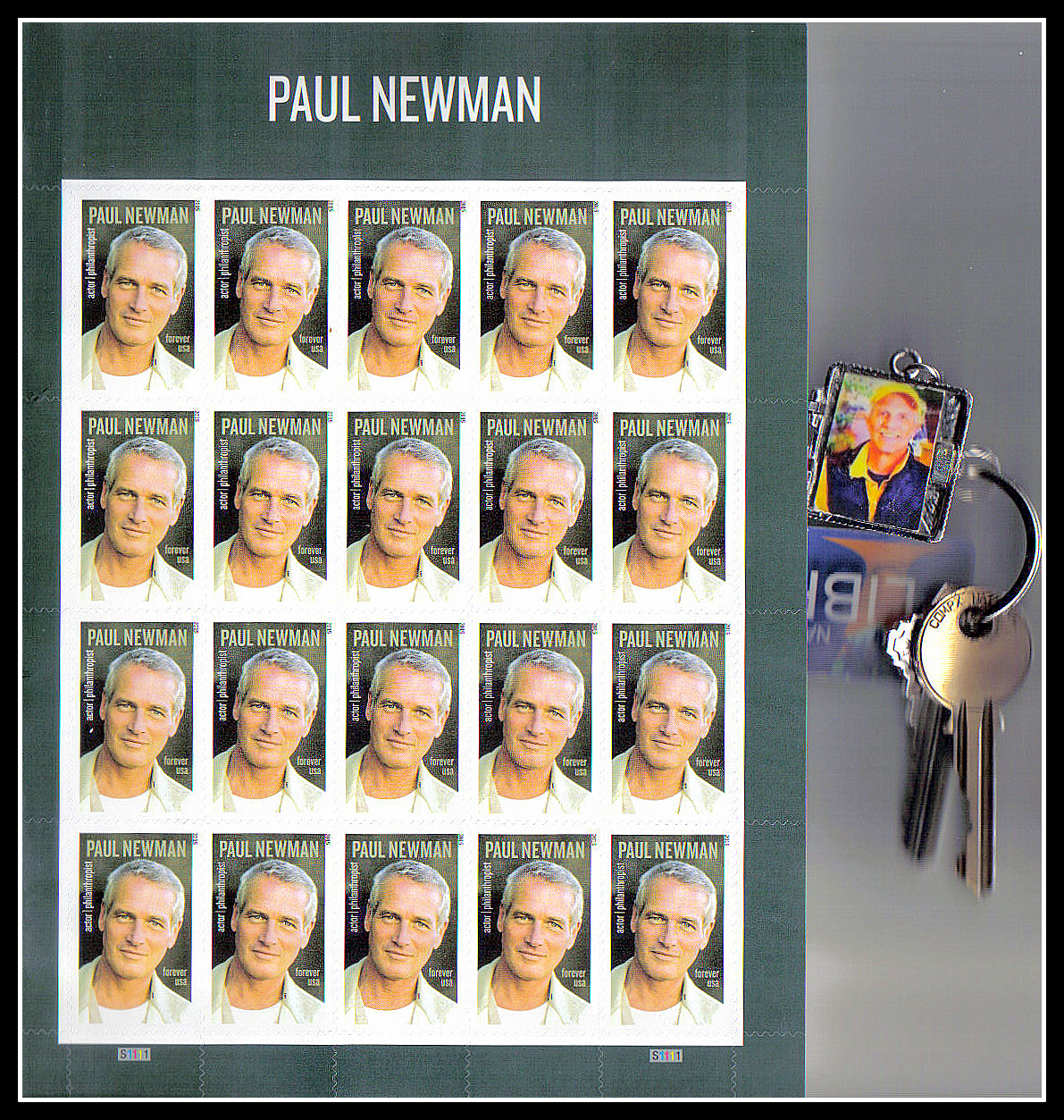The PAUL NEWMAN Stamp With Jacks Keychain