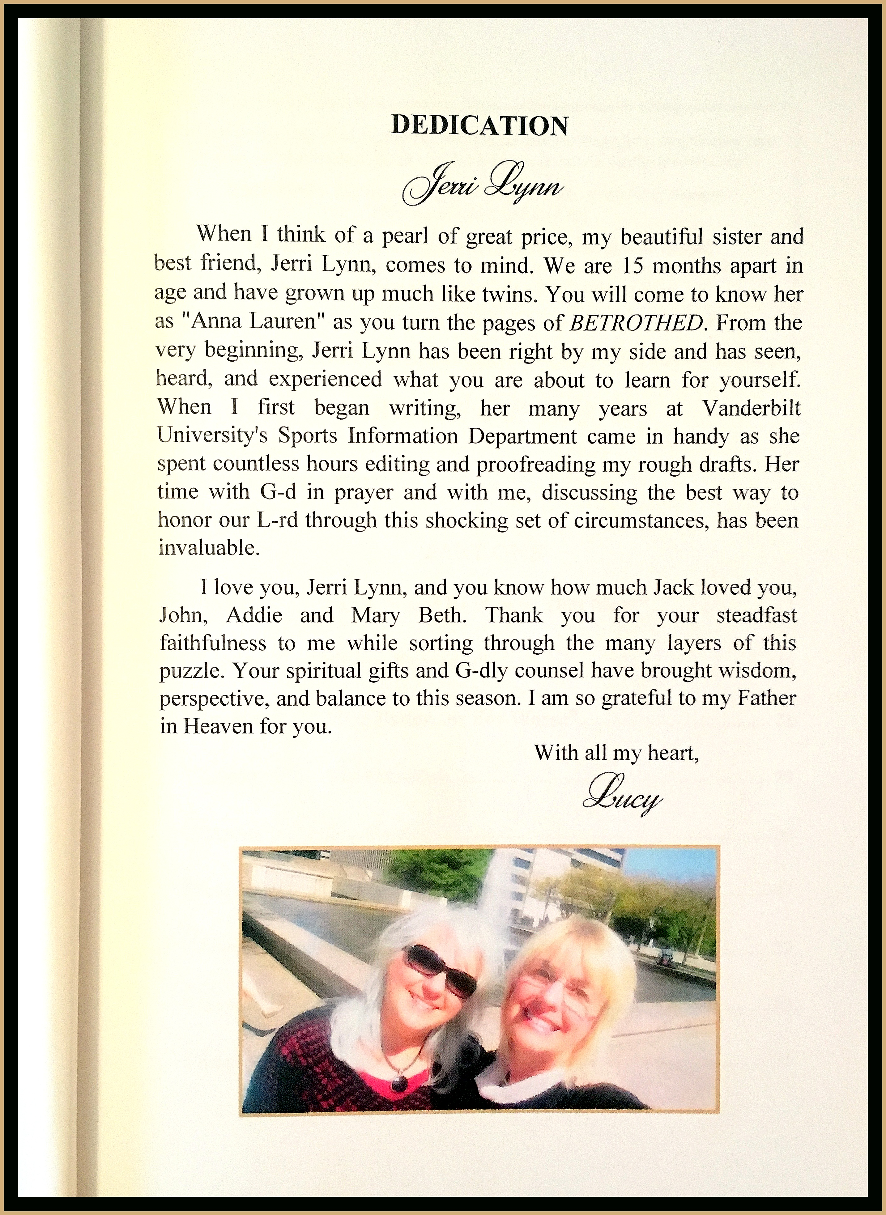 BETROTHED Dedication to Jerri Lynn framed in Gold for blog
