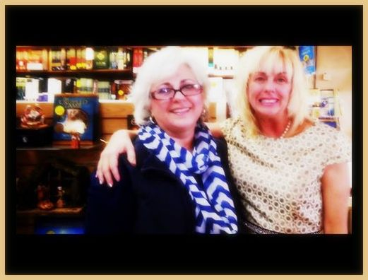 Jerri Lynn and Lucy at Logos framead in gold for BETROTHED blog