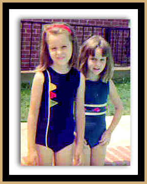 Jerri Lynn and Lucy at Moss Trail pool 5 and 7 framed in gold for BETROTHED blog
