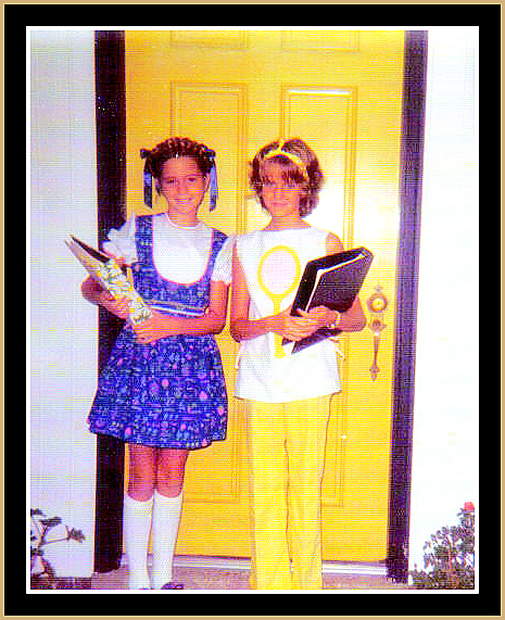 Jerri Lynn and Lucy by yellow door framed in gold for BETROTHED blog